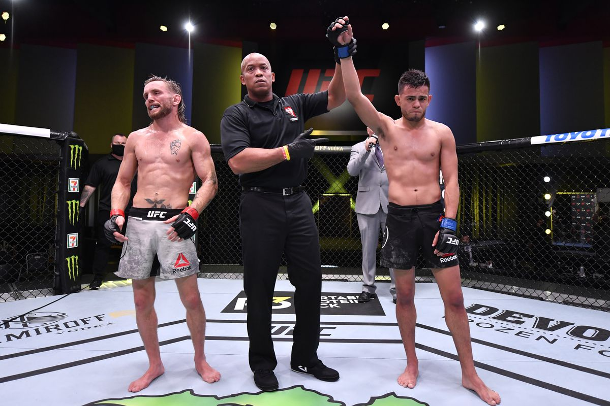 In this handout image provided by UFC, Brandon Royval reacts after his submission victory over Tim Elliott in their flyweight fight during the UFC Fight Night event at UFC APEX on May 30, 2020 in Las Vegas, Nevada.