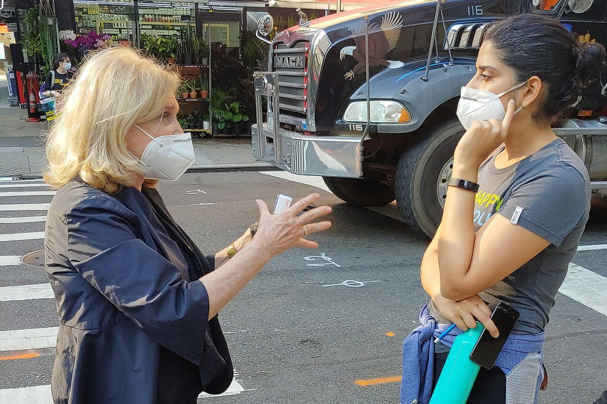 Congressmember Carolyn Maloney (D-NY) speaks to voters on primary day, June 23, 2020.