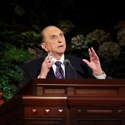 Thomas S. Monson, President of the Church of Jesus Christ of Latter-day Saints, is animated during his talk in the morning session of the 183rd Semiannual General Conference of the Church of Jesus Christ of Latter-day Saints Sunday, Oct. 6, 2013, in Salt Lake City.