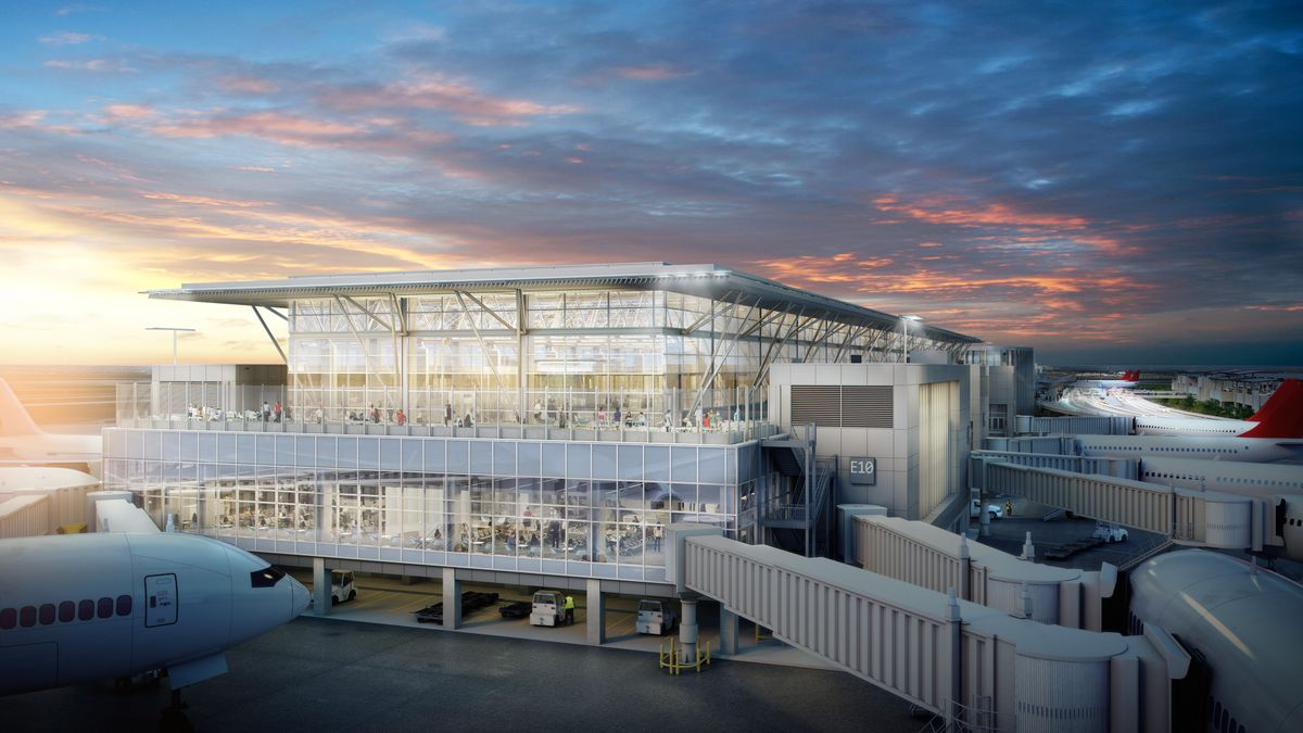 Exterior of an airport (rendering) at sunrise