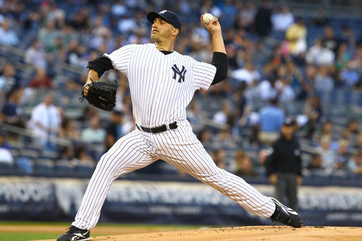 NEW YORK, NY:  Andy Pettitte #46 of the New York Yankees  pitches against the Kansas City Royals during their game at Yankee Stadium in the Bronx borough of New York City.  (Photo by Al Bello/Getty Images)