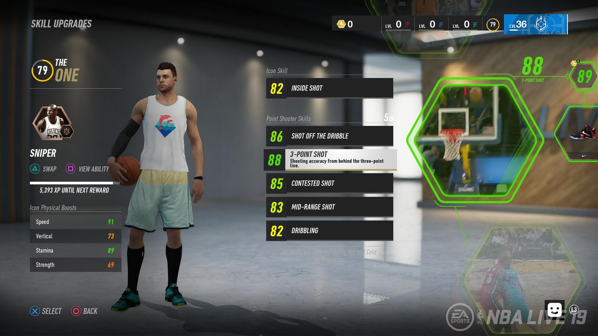 NBA Live 19 - skill upgrades in The One
