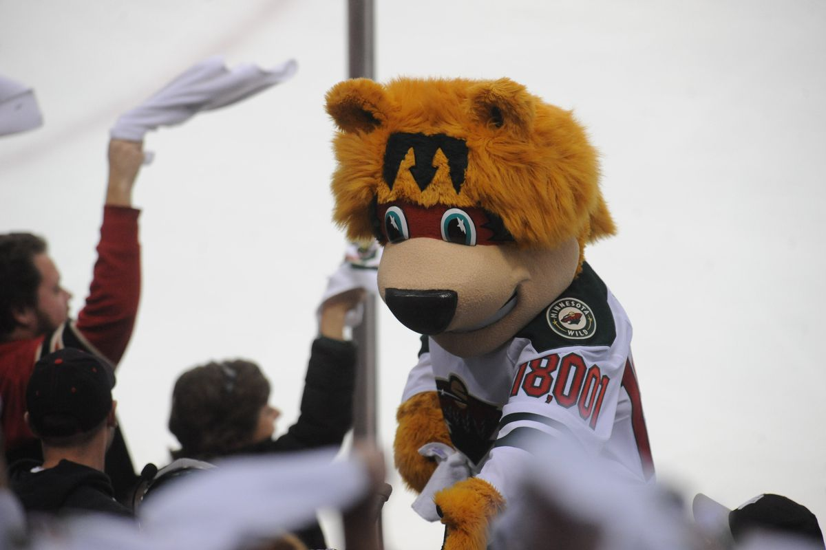 The Wild's mascot has the arena's seating capacity on his arm and a Dark World Mcdonald's logo on his forehead.