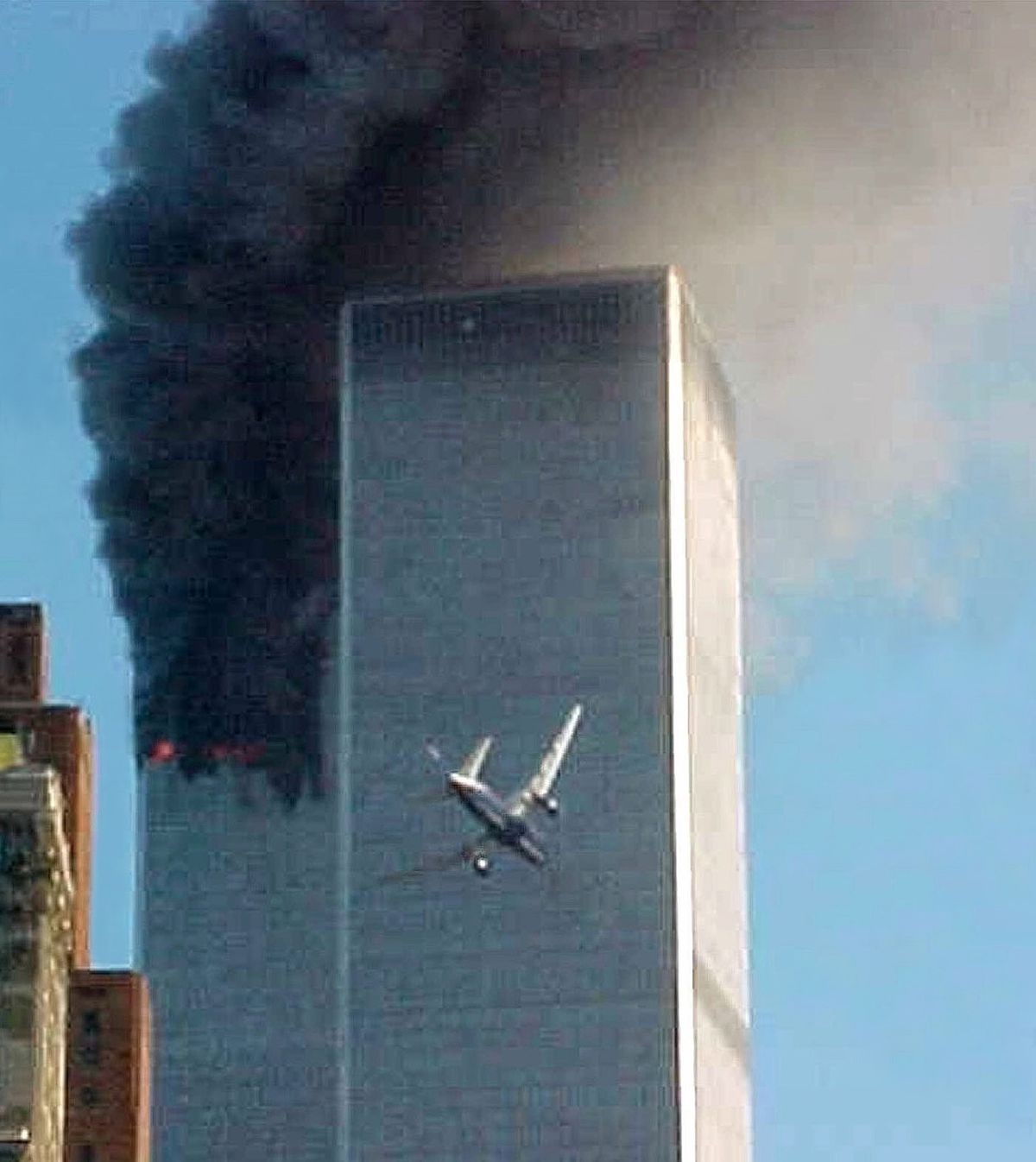 A jet airliner is lined up on one of the World Trade Center towers in New York Tuesday, Sept. 11, 2001.