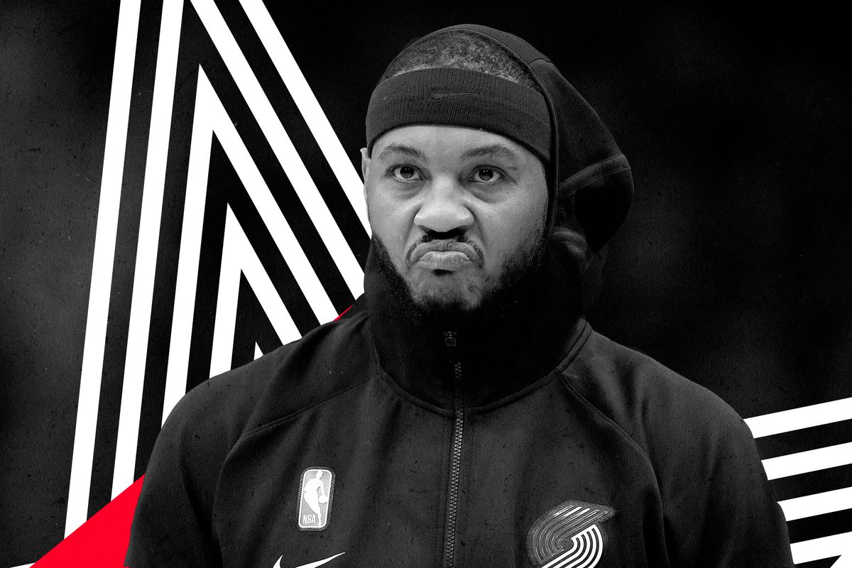 Carmelo Anthony in his Trail Blazers' warmups.