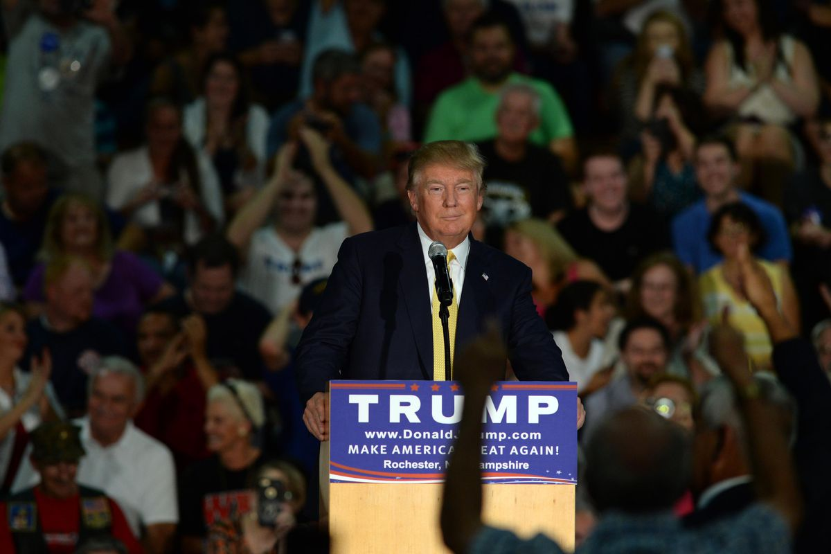 Republican Presidential candidate Donald Trump speaks during a town hall event at Rochester Recreational Arena September 17, 2015 in Rochester, New Hampshire.