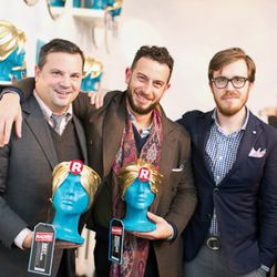 Best Men's Blog winner Michael Williams of A Continuous Lean along with Josh Peskowitz and Jonathan Evans from Best New E-Commerce Site Park & Bond