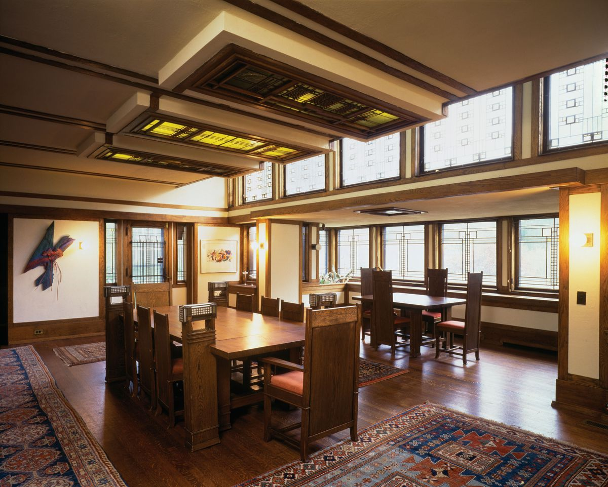 """Elmhurst is celebrating """"Frank Lloyd Wright Day"""" with an exhibit at the Elmhurst Art Museum. Pictured is the Edward E. Boynton House diningarea inRochester, New York, 1908. Photograph. © Paul Rocheleau"""