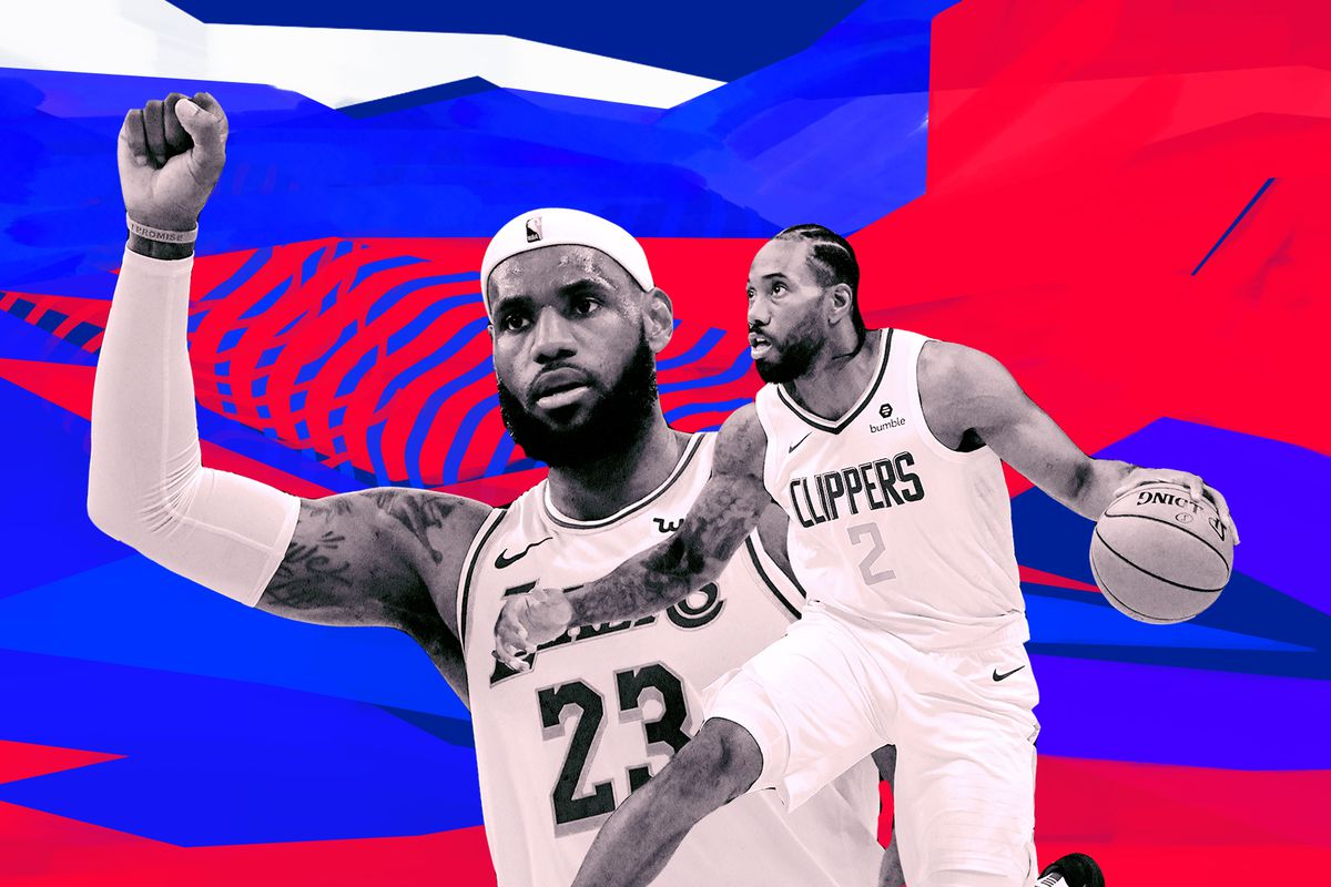 A collage of LeBron James and Kawhi Leonard over a superimposed background.