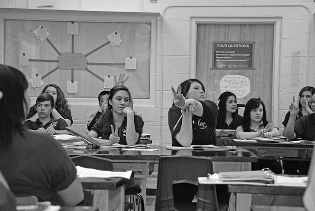 Students at the Pueblo Academy of Arts participate in a science lesson in April. The middle school, formerly known as Pitts, was once considered toxic — like five of the city's other middle schools.