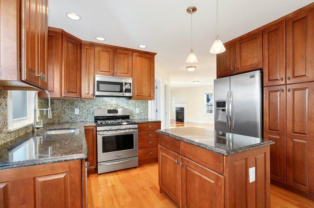 A modern kitchen with an island.