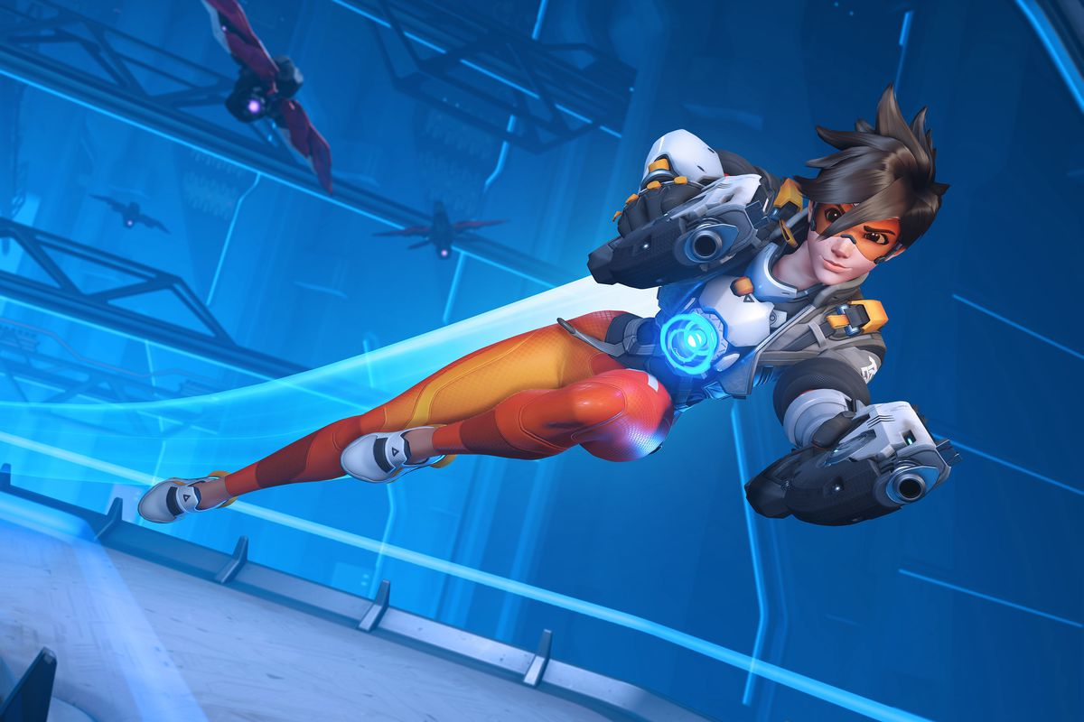 A screenshot of Tracer leaping from Overwatch 2