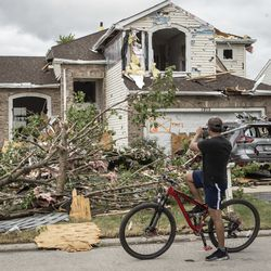 Storm damage near Spice Cir. And Nutmeg Ln. in Naperville's Ranchview neighborhood Monday, June 21, 2021.
