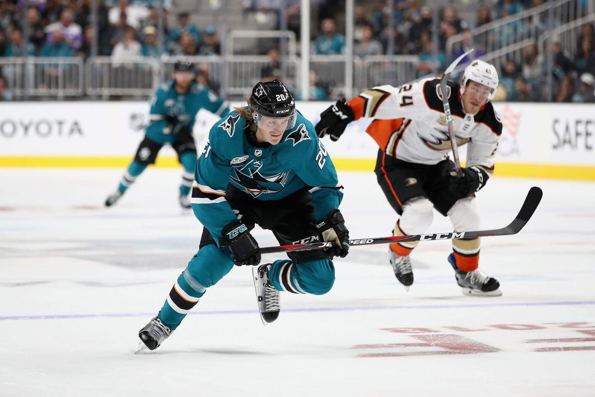 SAN JOSE, CA - OCTOBER 03: Marcus Sorensen #20 of the San Jose Sharks in action against the Anaheim Ducks at SAP Center on October 3, 2018 in San Jose, California.