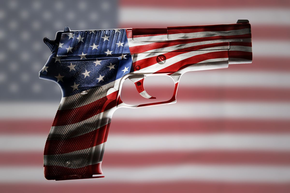 The gun is a flag. Or is the flag a gun? Either way, something abstract will be shot.