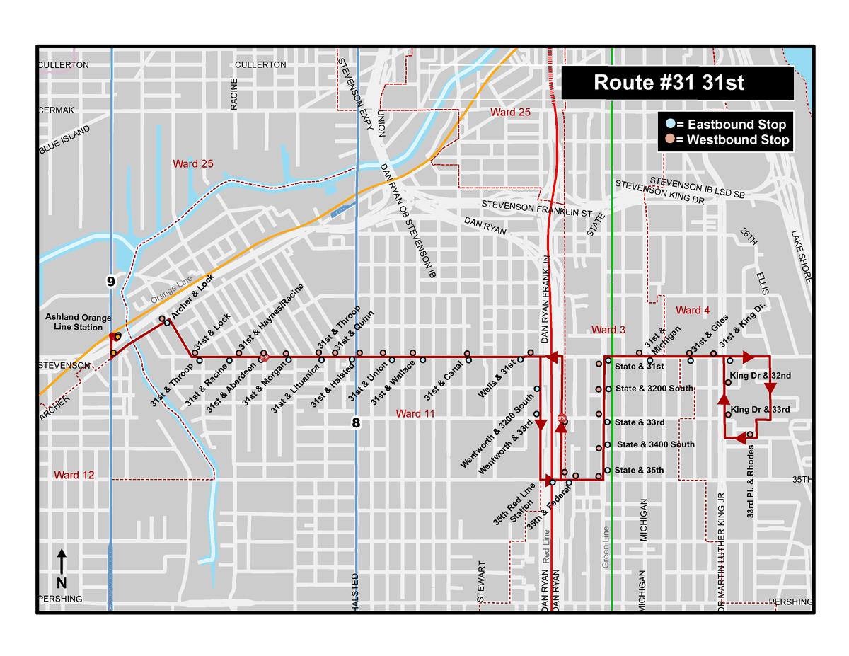 CTA map of 31st Street bus pilot program route.