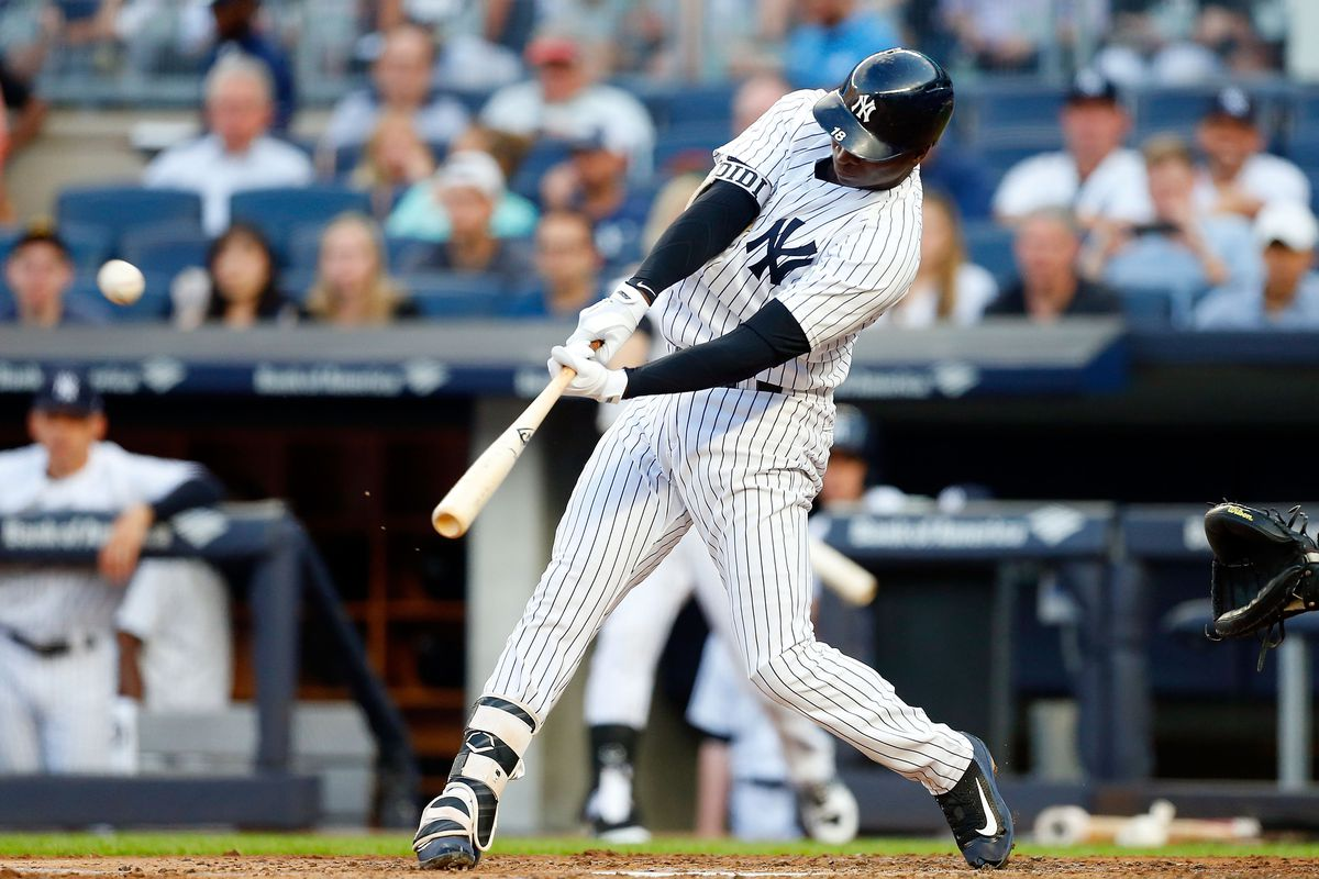 Didi Gregorius connects on a first-inning two-run home run against the Baltimore Orioles at Yankee Stadium on June 10, 2017.