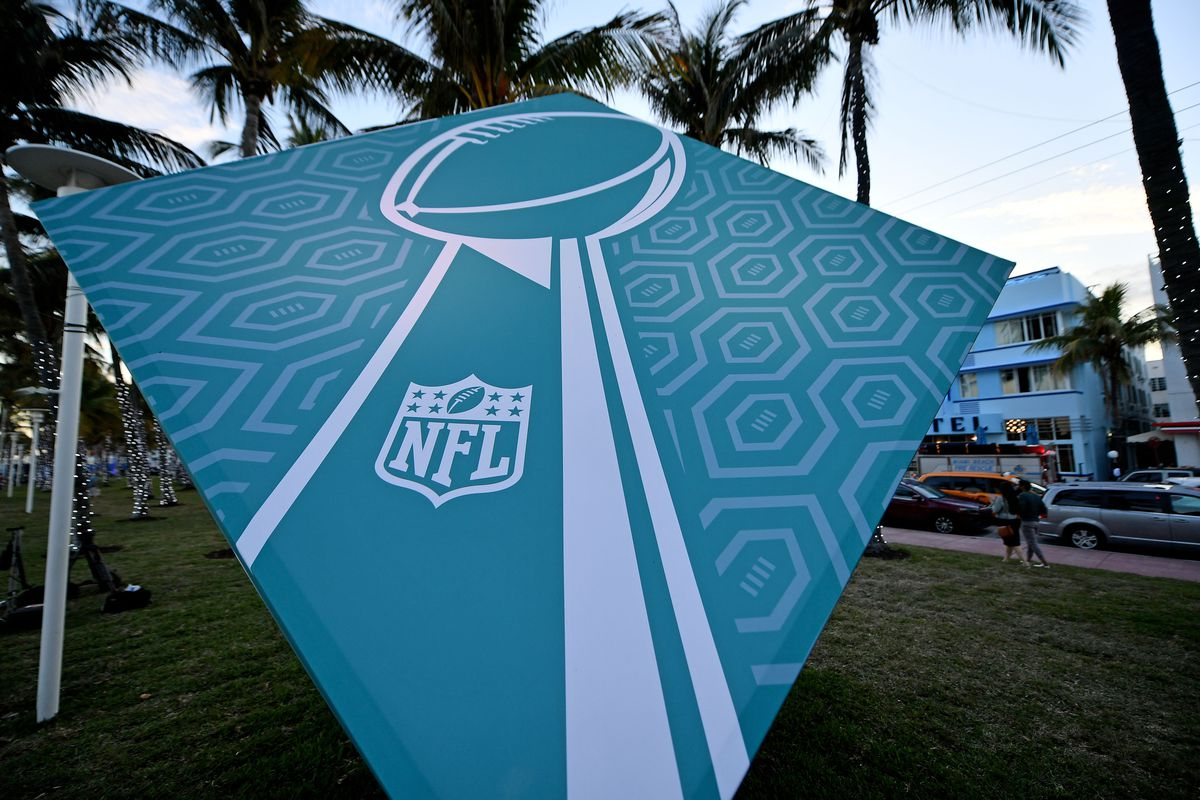 A general view of a sign with the likeness of the Vince Lombardi Trophy off Ocean drive in South Beach Miami prior to Super Bowl LIV between the San Francisco 49ers at Kansas City Chiefs.
