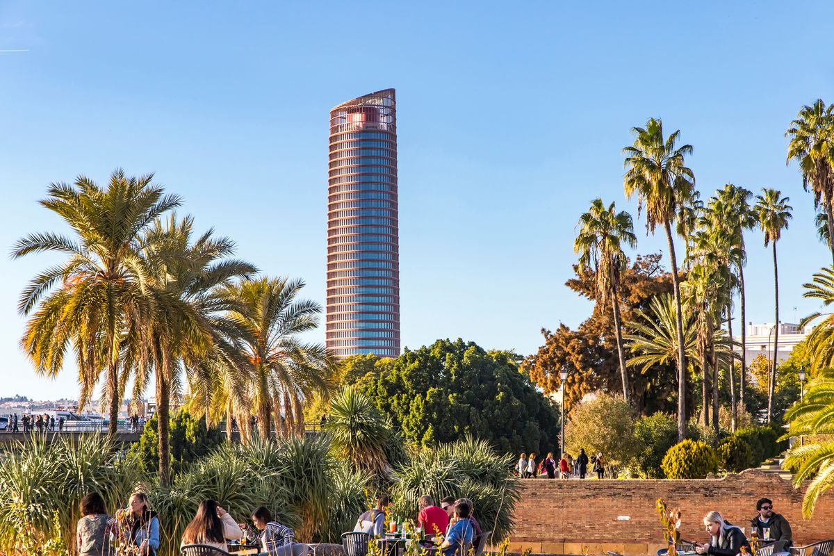 rounded red tower in Seville, Spain
