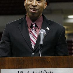 Rick Ray speaks to a small gathering of reporters and fans after being introduced as Mississippi State's head basketball coach on Monday, April 2, 2012 at the school's Humphrey Coliseum in Starkville, Miss. The 40-year-old Ray comes to Mississippi State after spending two years as the top assistant at Clemson.