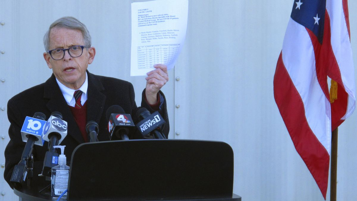 Republican Ohio Gov. Mike DeWine discusses the most recent data on Ohio's coronavirus cases during a news briefing in November.
