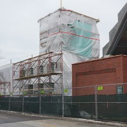 New construction in the left field corner, on Waveland Avenue