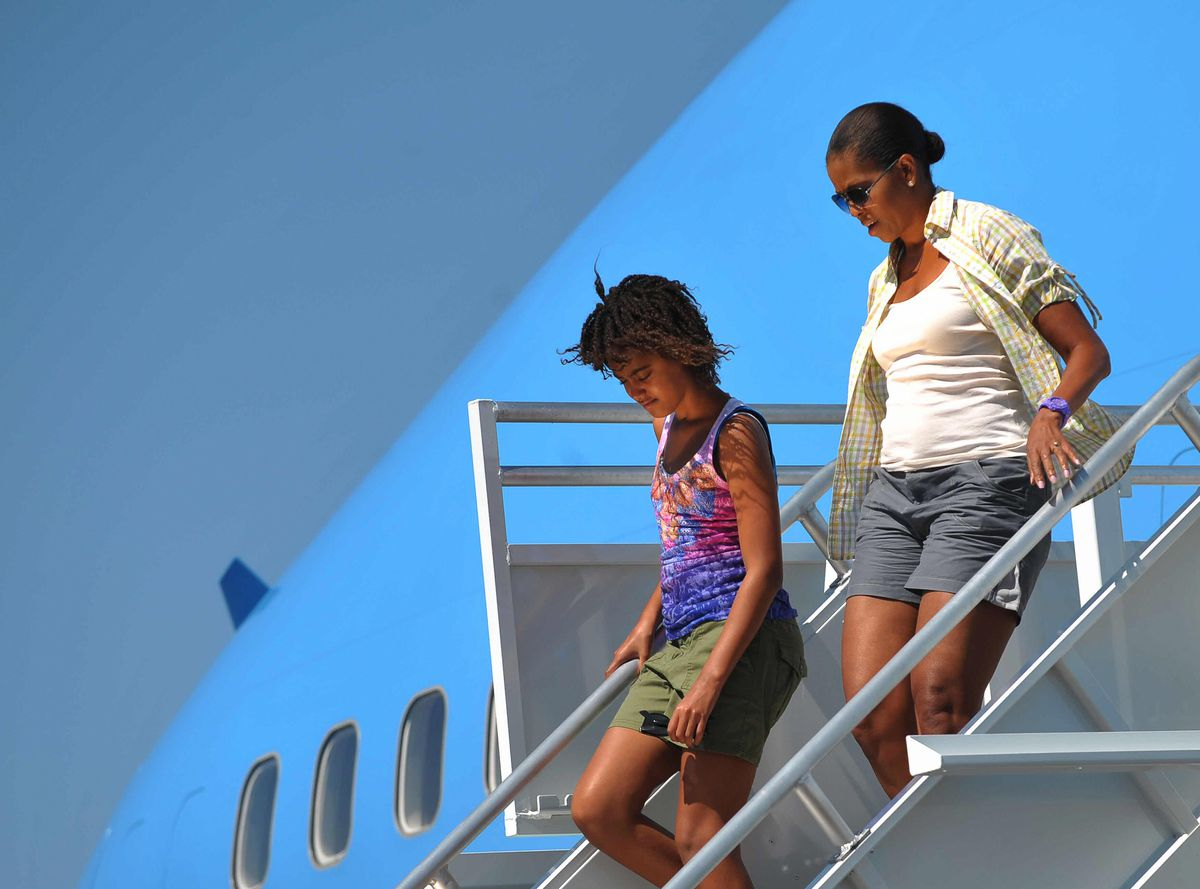 Michelle Obama arriving at the Grand Canyon in August 2009