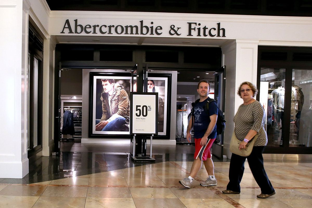 Exterior shot of Abercrombie storefront in a mall