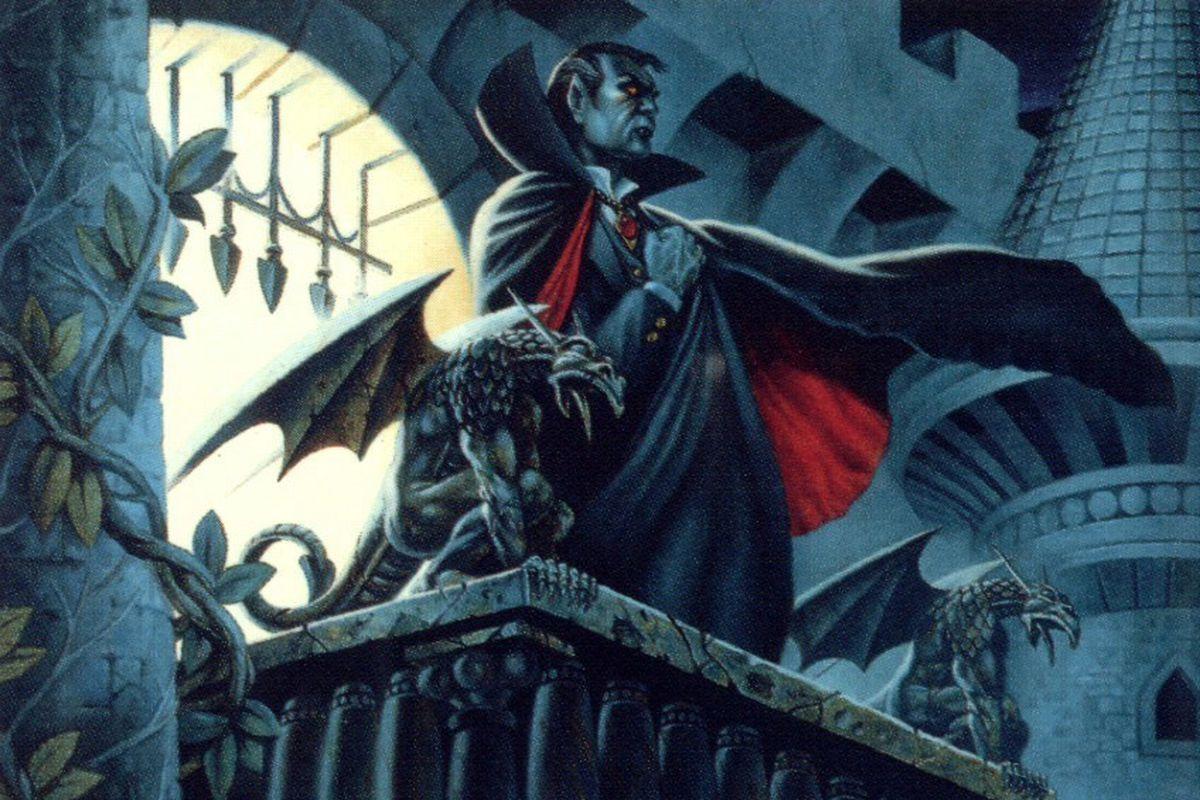 An illustration of Strahd von Zarovich among the towers of Castle Ravenloft
