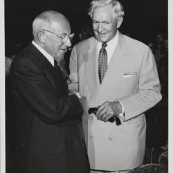 """LDS Church President David O. McKay and Cecil B. DeMille at the preview screening of """"The Ten Commandments"""" at the Centre Theatre in Salt Lake City, Utah. The event was termed a """"sneak preview"""" and occurred on Aug. 2, 1956, more than a month prior to the film's national release on Oct. 5."""