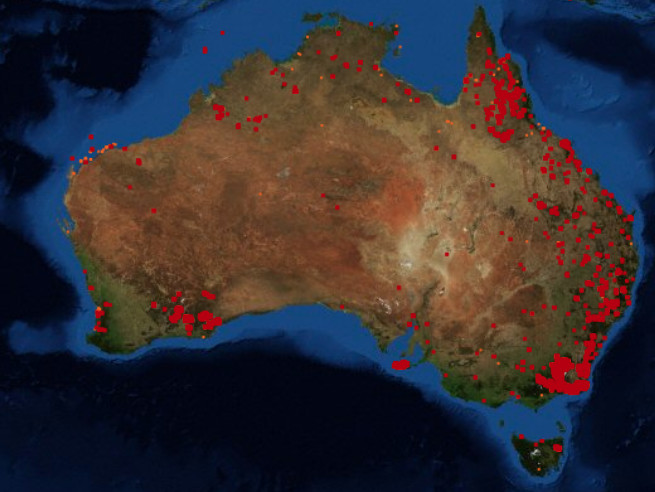 NASA Fire Information for Resource Management System satellite map of fires in Australia from January 13, 2020