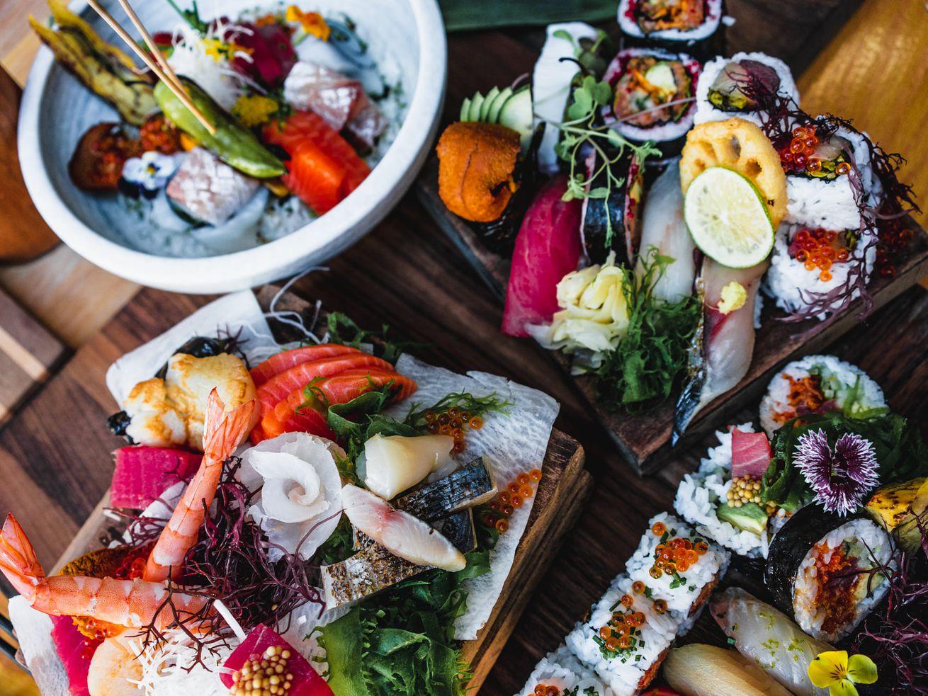 platters of raw fish