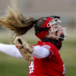 Bountiful pitcher Annie Salazar throws a pitch during a softball game against Clearfield at Millcreek Junior High School in Bountiful on Wednesday, March 24, 2021.