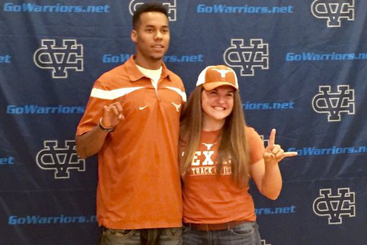 Texas football signee Collin Johnson poses with classmate and Texas track signee Elena Bruckner on November 11, 2015 during a Fall signing day ceremony at San Jose's Valley Christian High School