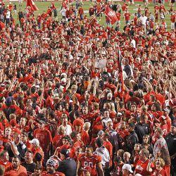 Fans as the University of Utah defeats BYU 24-21 in football Saturday, Sept. 15, 2012, in Salt Lake City, Utah.