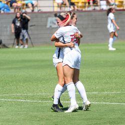 Brooke Wilson celebrates with Kelcey Cavarra
