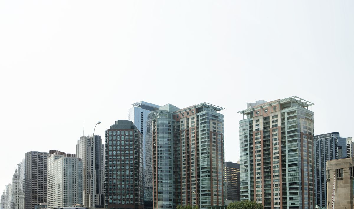 A row of tall buildings.