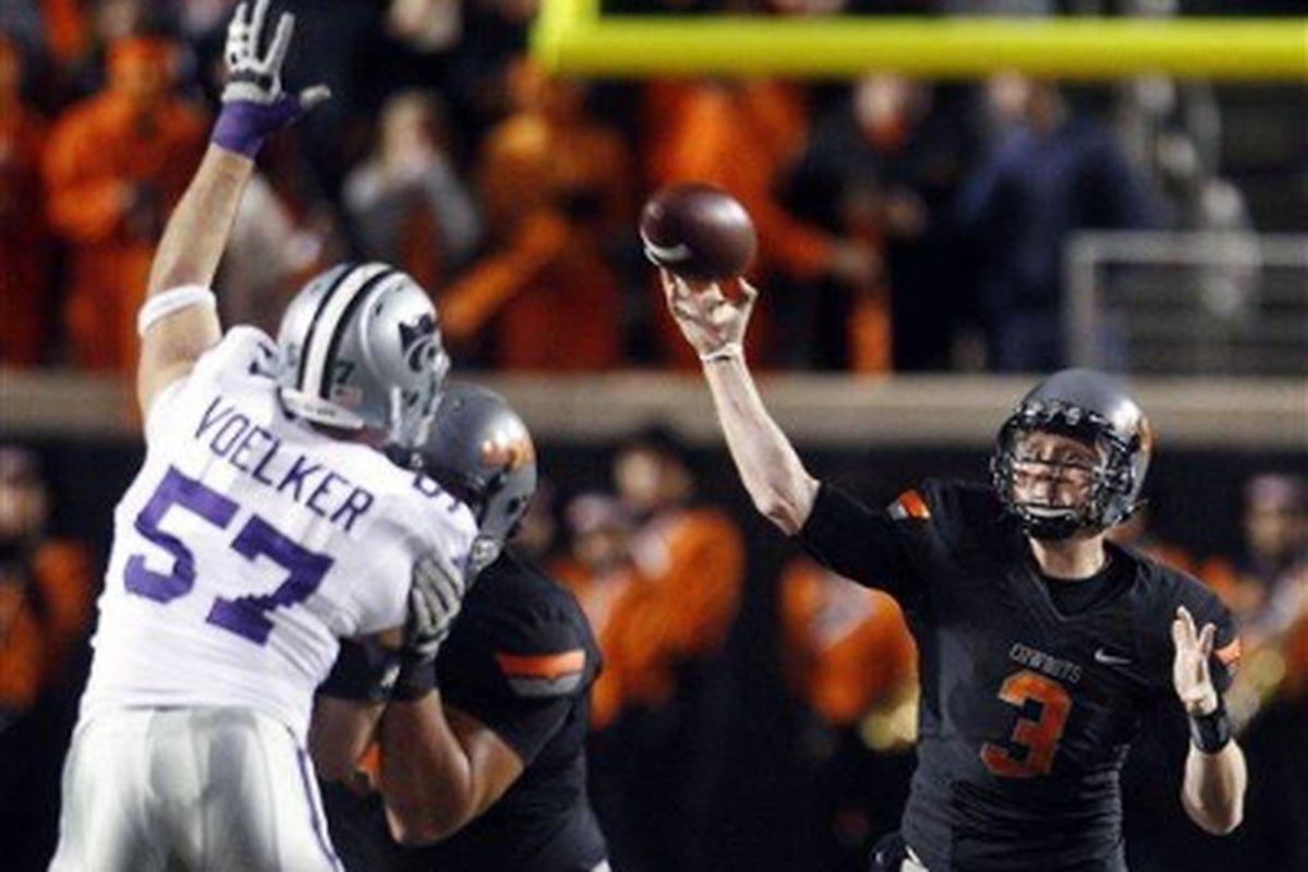 Oklahoma State's Brandon Weeden (No. 3)