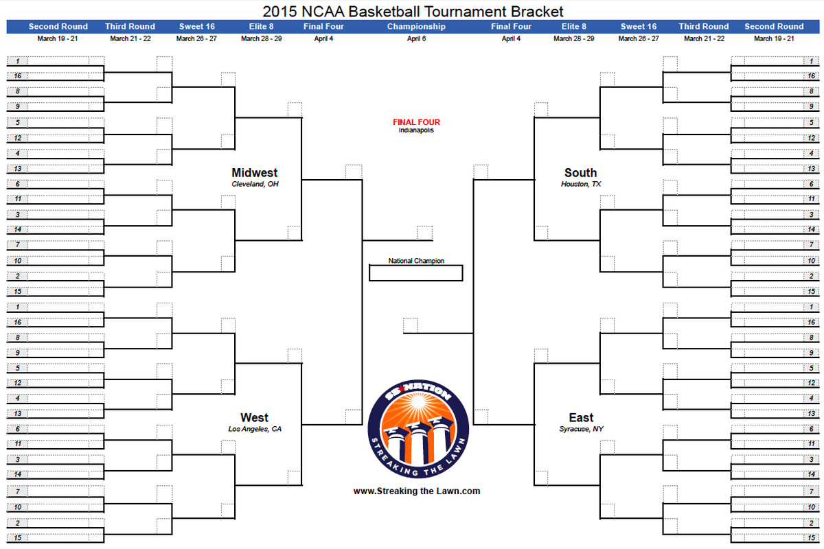 NCAA Bracket 2015 Download Your Printable March Madness Here