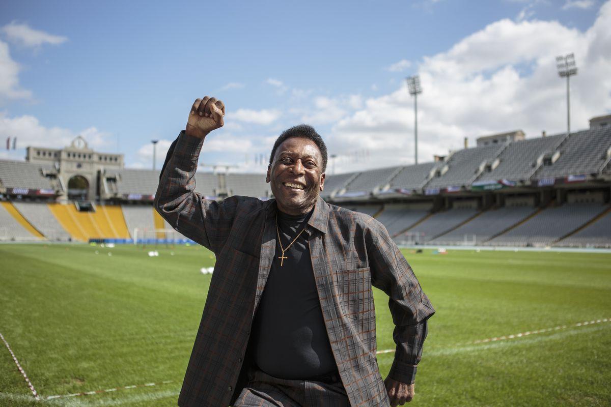 Soccer Legend Pele Visits Olympic Stadium In Barcelona