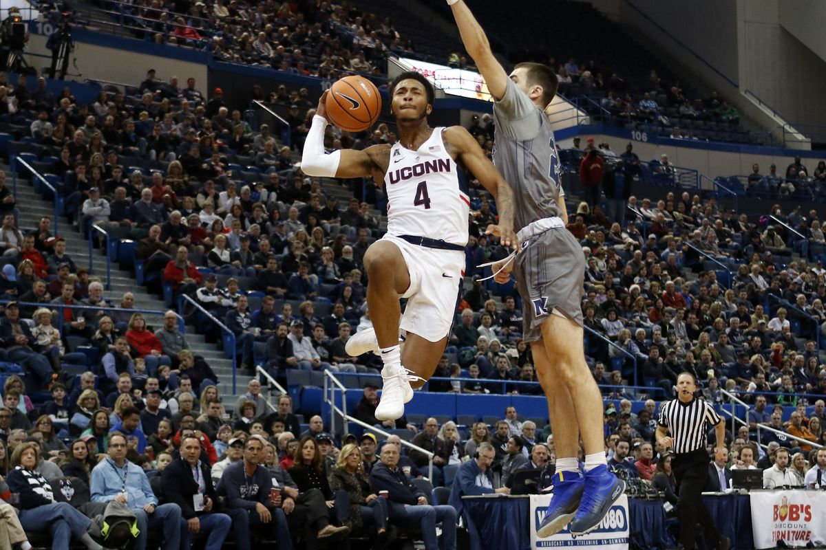 UConn's Jalen Adams (4) during the Monmouth Hawks vs UConn Huskies men's college basketball game at the XL Center in Hartford, CT on December 2, 2017.