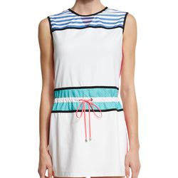 If you want something throw-on-and-go, look no further than this easy cinch-waist dress with colorful mesh panels.