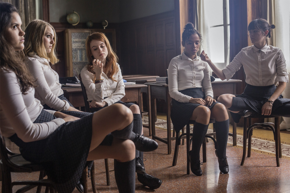 """Kit (AnnaSophia Robb, second from left) is part of the very small class of girls at an eerie boarding school in """"Down a Dark Hall."""" 