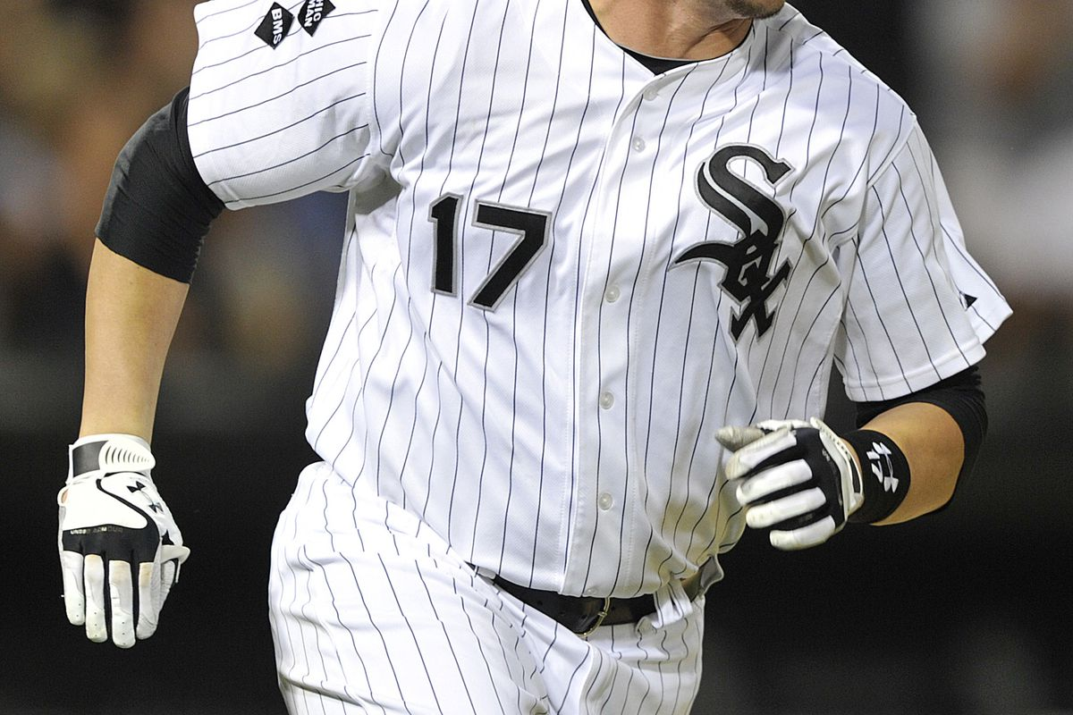 CHICAGO, IL - AUGUST 25: Tyler Flowers #17 of the Chicago White Sox watches his solo home run against the Seattle Mariners during the sixth inning on August 25, 2012 at U.S. Cellular Field in Chicago, Illinois. (Photo by Jim Prisching/Getty Images)
