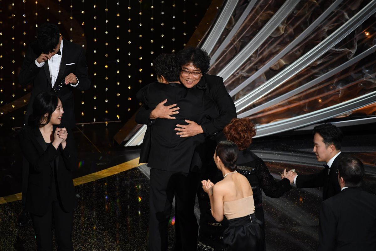 Bong Joon-ho accepts the Best Picture award for 'Parasite' onstage during the 92nd Annual Academy Awards at Dolby Theatre on February 09, 2020 in Hollywood, California.