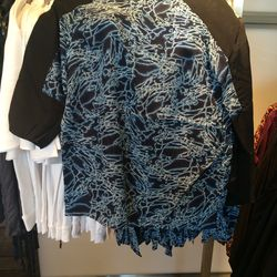 Blue top, size 2, $20 (was $128)
