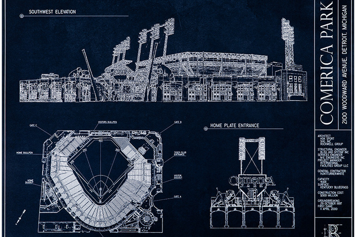 Byb comerica park blueprint art giveaway contest voting is now two weeks ago we partnered up with ballpark blueprints and announced a fanpost contest with an awesome comerica park blueprint pictured above serving as malvernweather Images