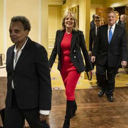 Mayor Lori Lightfoot, former Second Lady Jill Biden and Dick Durbin enter a press conference at the Union League Club, where Lightfoot, Durbin and other members of the Illinois congressional delegation would endorse former Vice President Joe Biden for president, Friday afternoon, March 6, 2020.