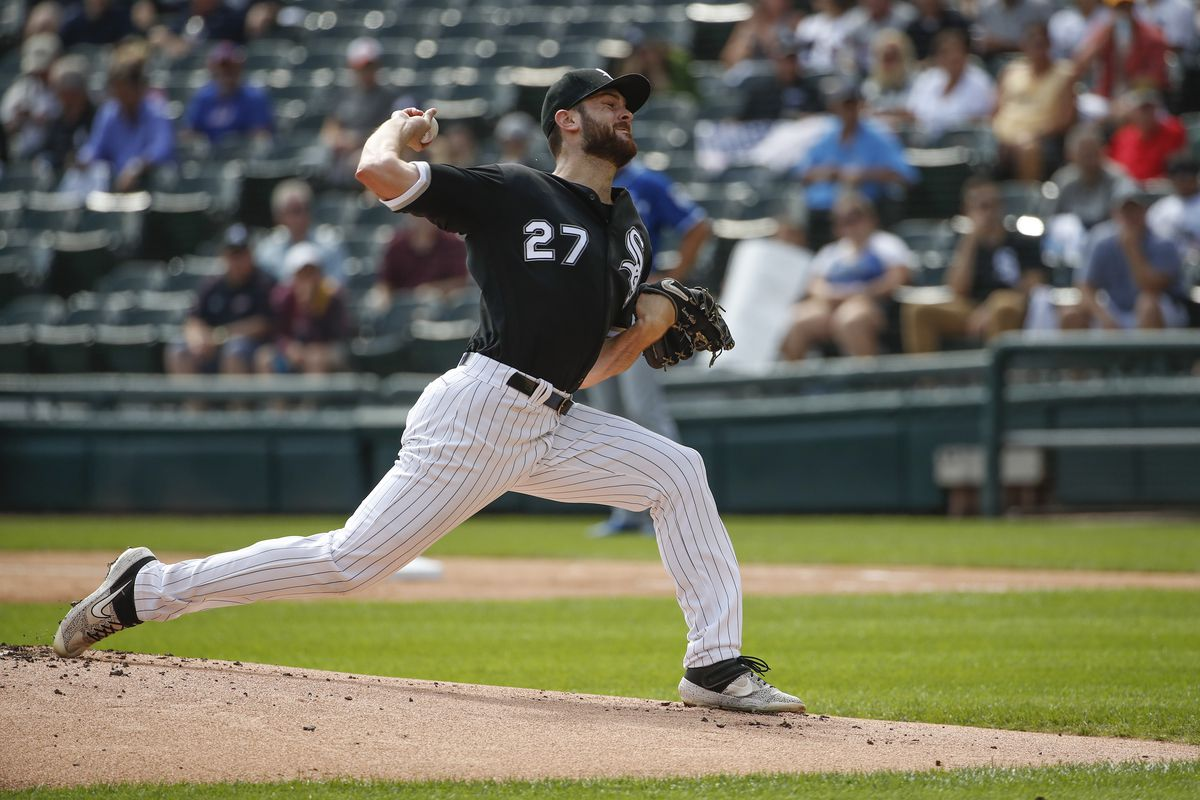 Chicago White Sox starting pitcher Lucas Giolito delivers against the Kansas City Royals during the first inning at Guaranteed Rate Field.