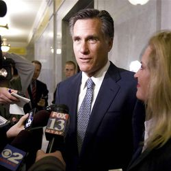 Mitt Romney speaks to reporters Feb. 17, 2011, at the Capitol in Salt Lake City. Romney was in Utah on a personal visit and met with lawmakers briefly.